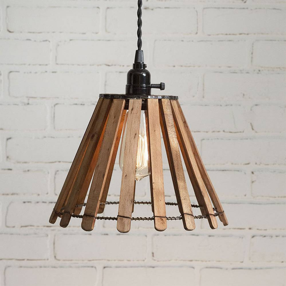 1-Light Plug-in Farmhouse Industrial Wood Slat Cone Pendant