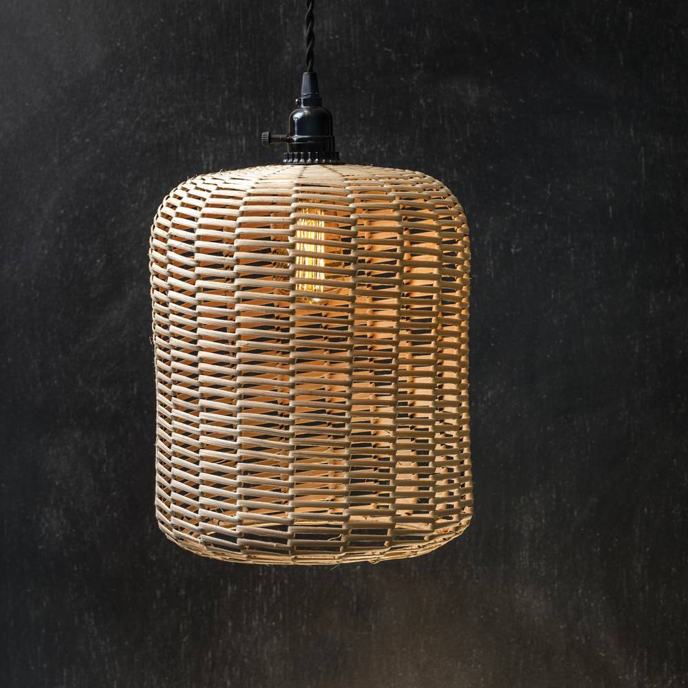 1-Light Plug-in Farmhouse Rattan Basket Drum Pendant