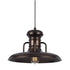 1-Light Rustic Oil Rubbed Bronze Flat Pendant