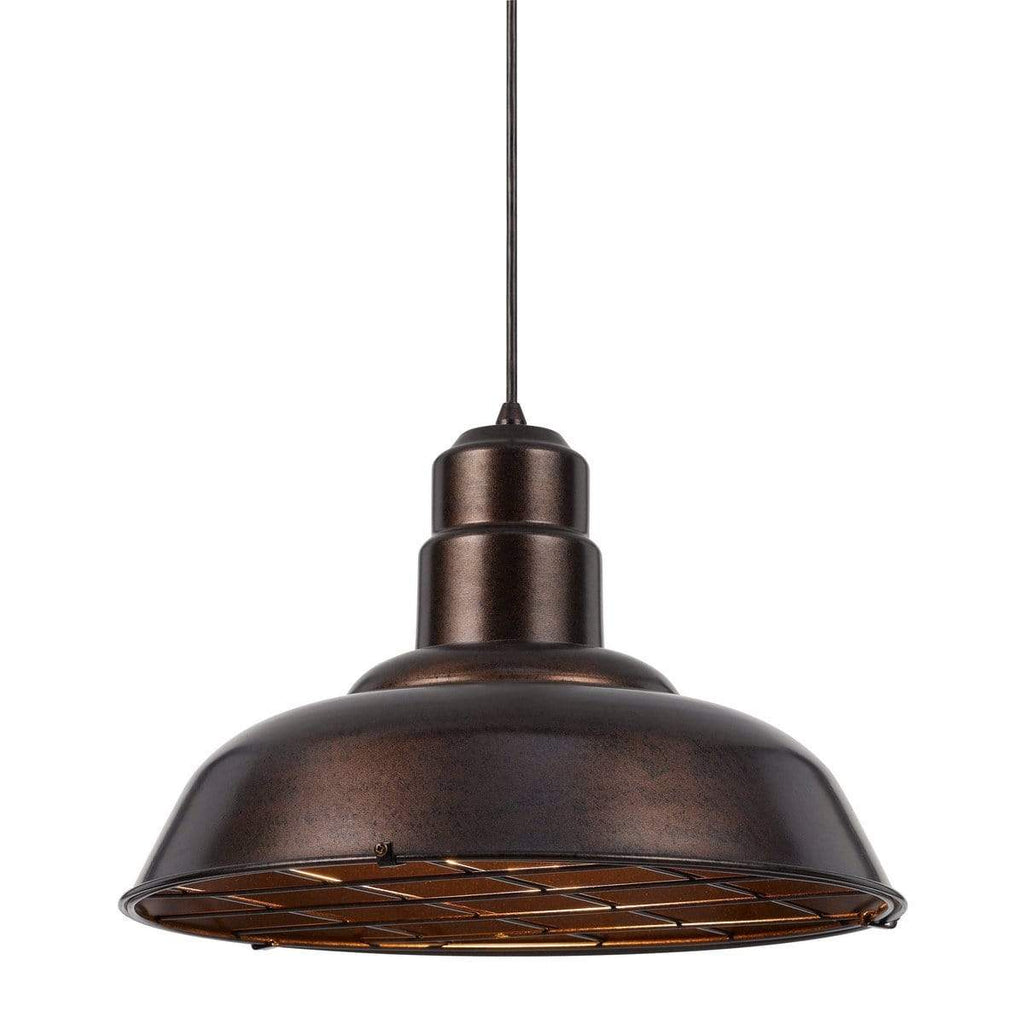 1-Light Rustic Quarter Dome Oil Rubbed Bronze Metal Pendant