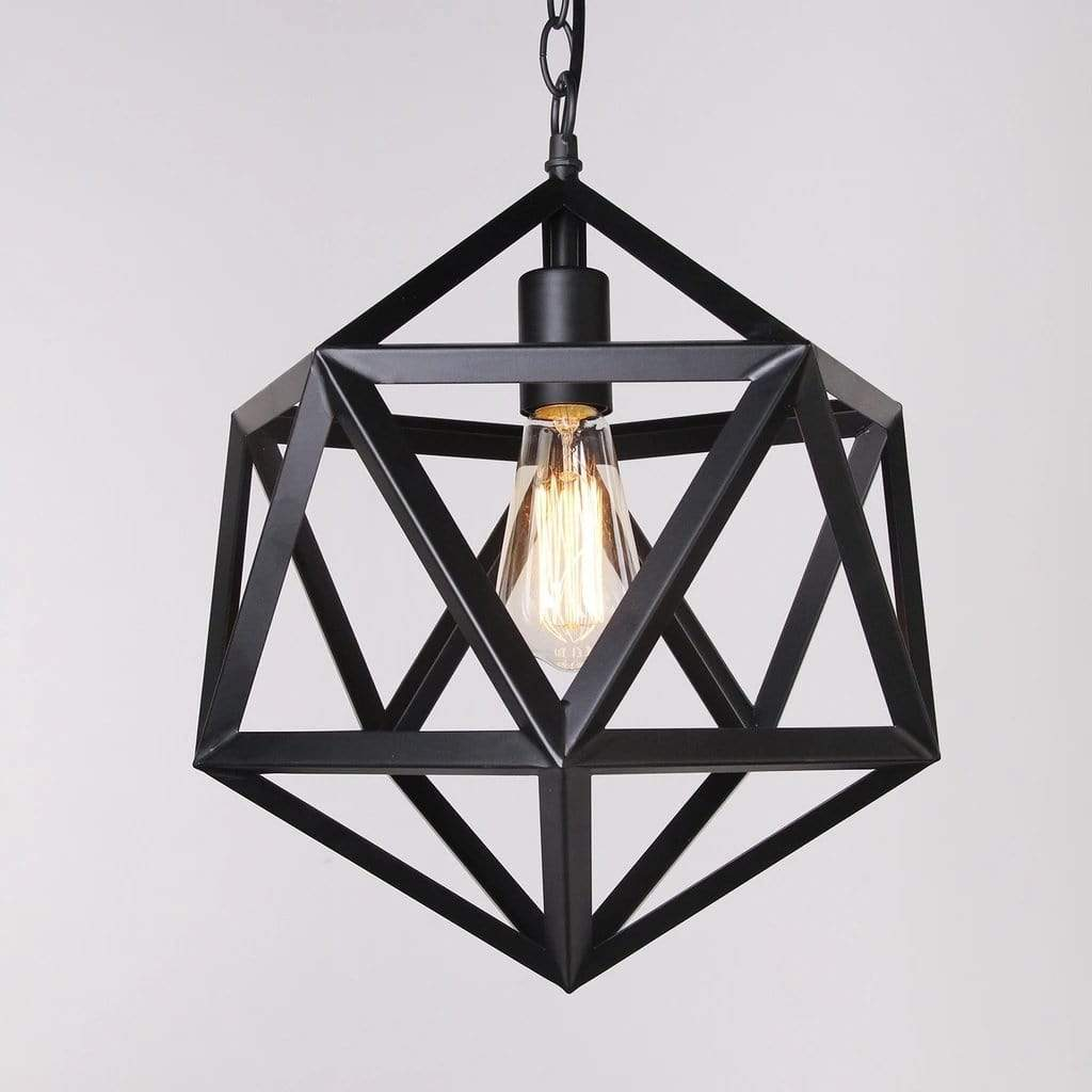 black metal geometric pendant light