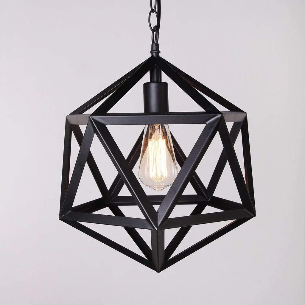 1-Light Single Modern Black Metal Geometric Globe Pendant