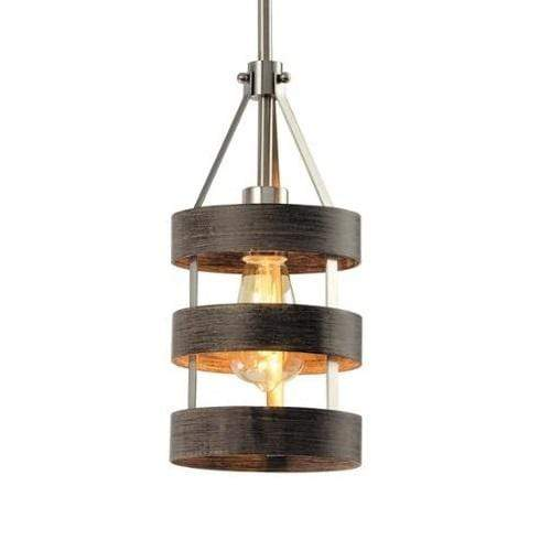 1 Light Single Rustic Drum Pendant With Wood Finish Free Shipping Stylish Direct