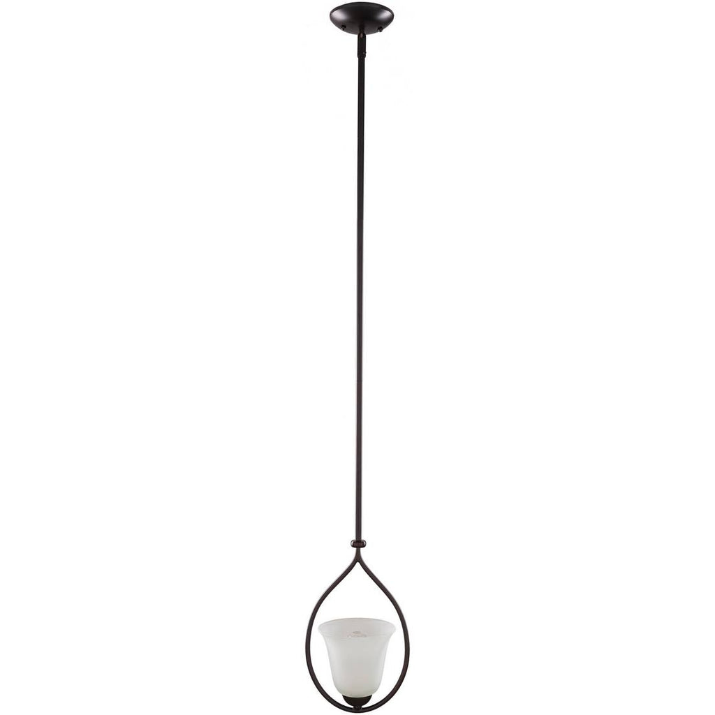 1-Light Vintage Black Framed White Frosted Glass Shade Pendant