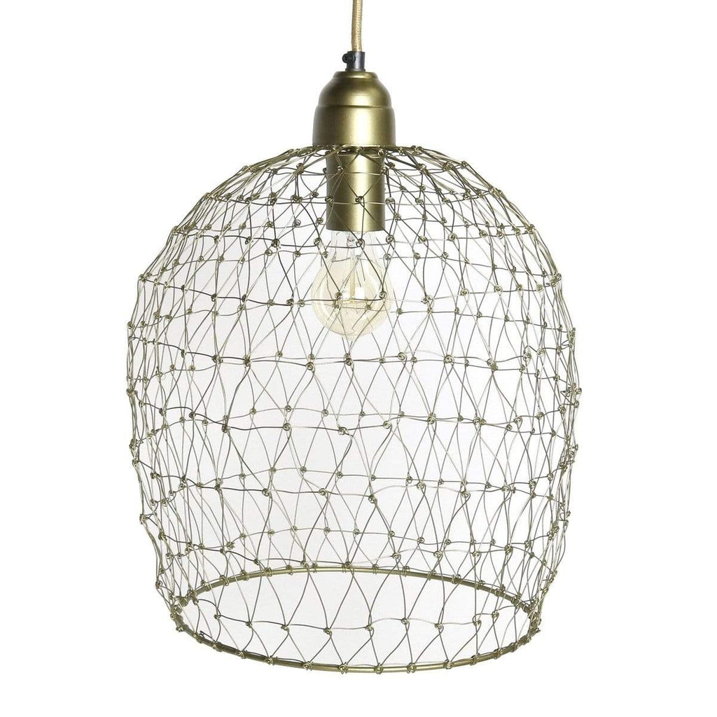 1-Light Vintage Brass Wire Cage Pendant
