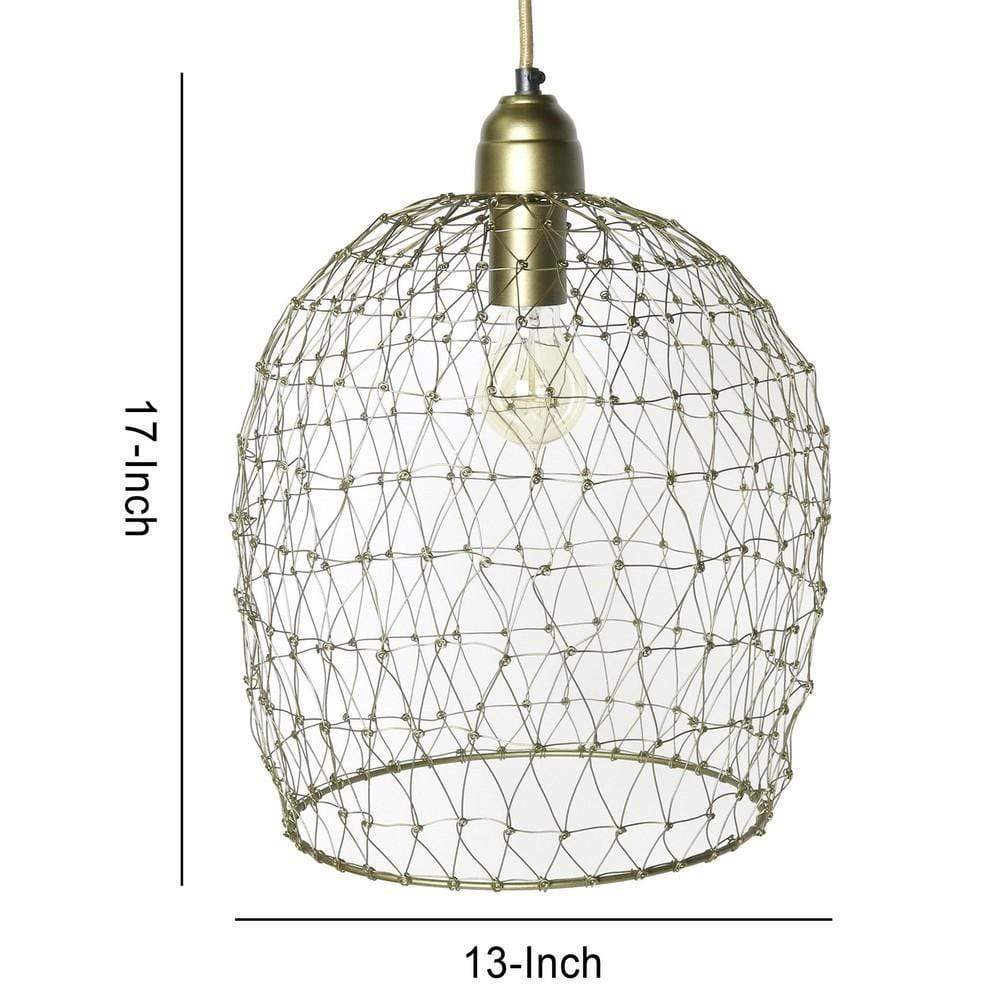 antique brass cage pendant light