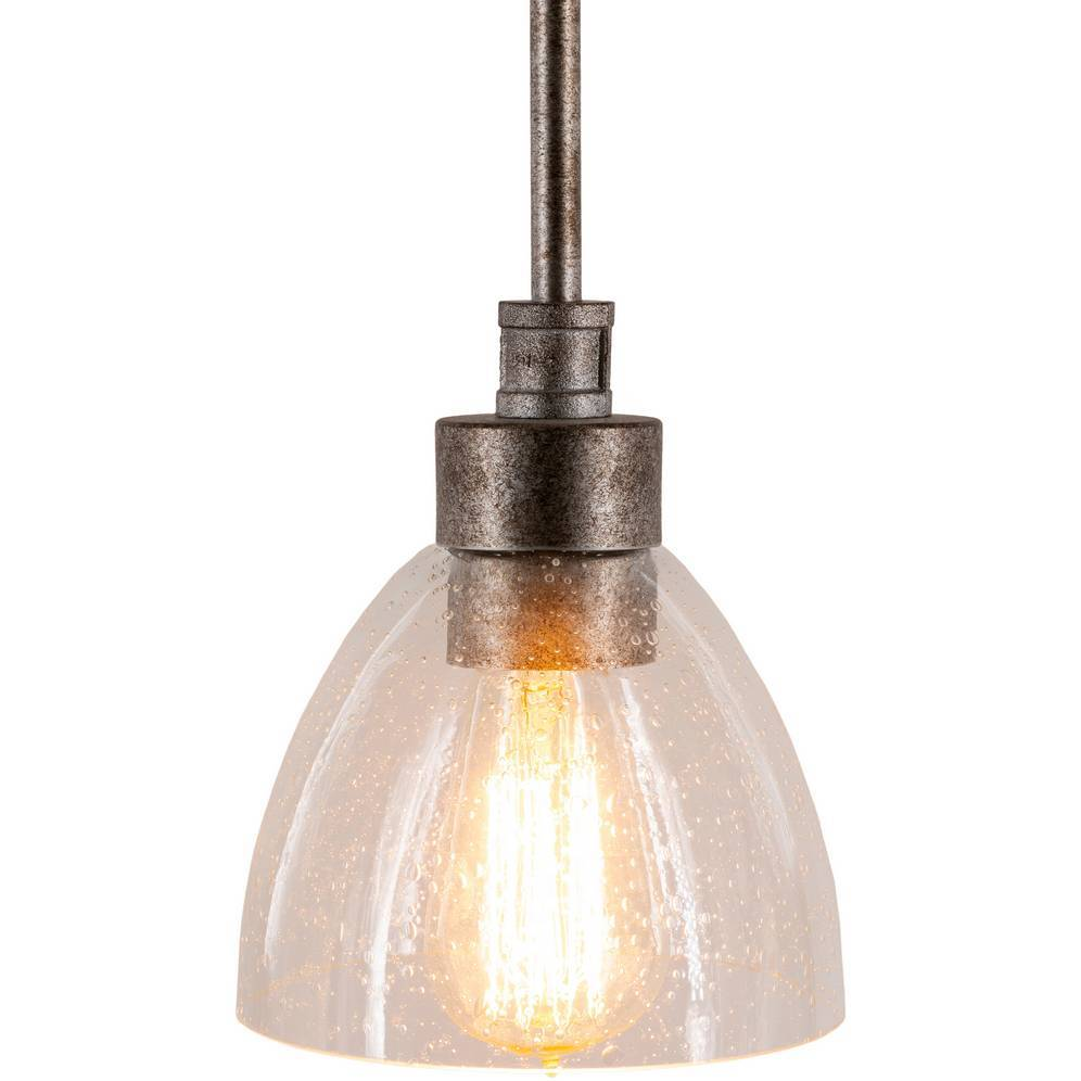 rustic silver vintage glass shade bell pendant light