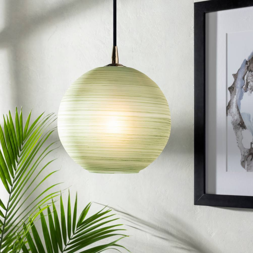 Antique Green & Brass Polished Glass Globe Pendant Light