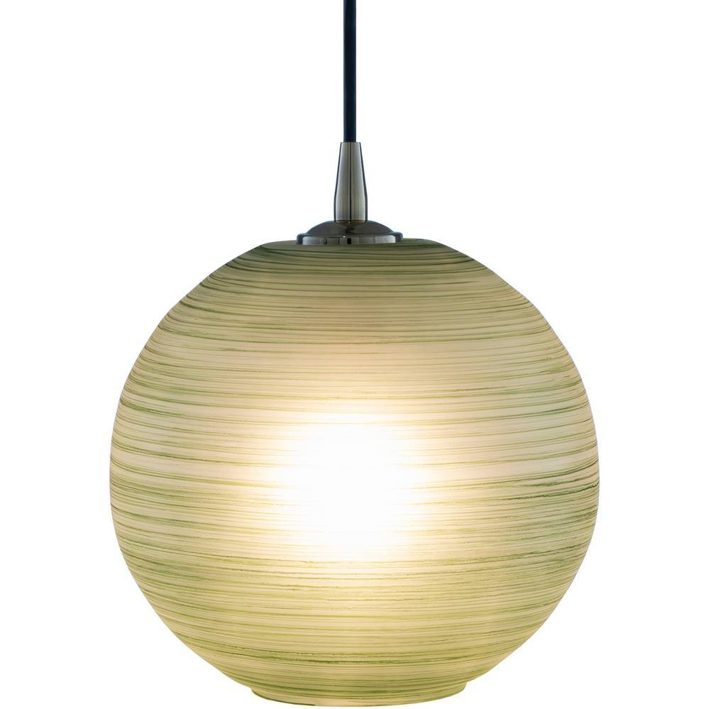 Vintage Brass and Green Polished Glass Globe Pendant Light