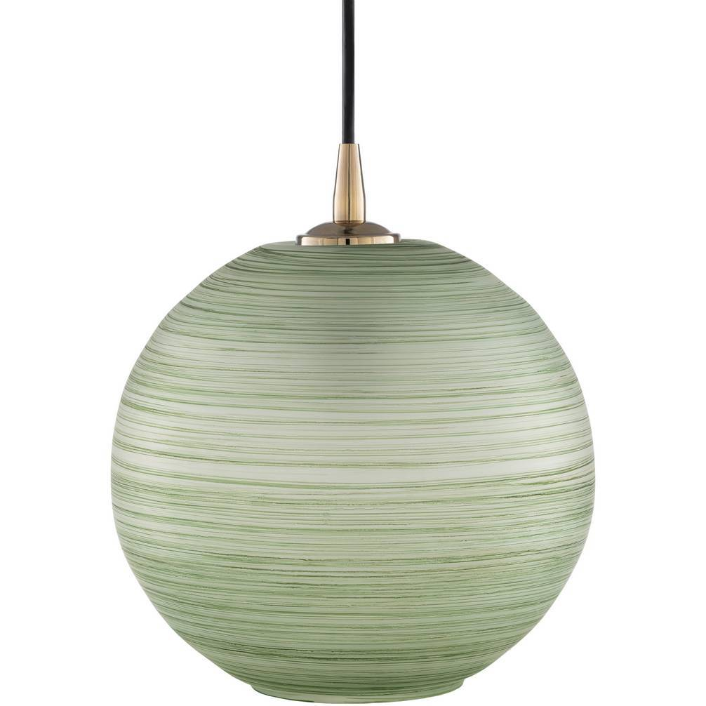 Antique Brass and Green Polished Glass Globe Pendant Light
