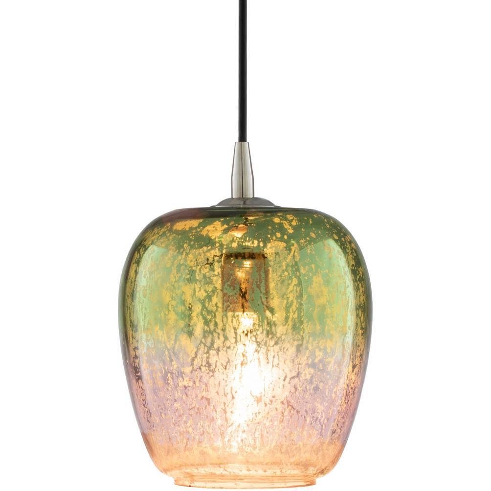 Antique Polished Nickel & Colorful Glass Dome Pendant Light