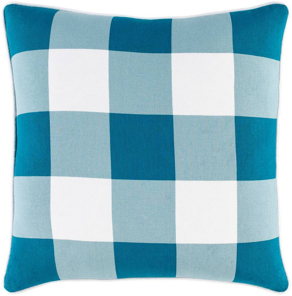 100% Cotton Aqua Blue, Light Blue, & White Plaid Throw Pillow with Piping