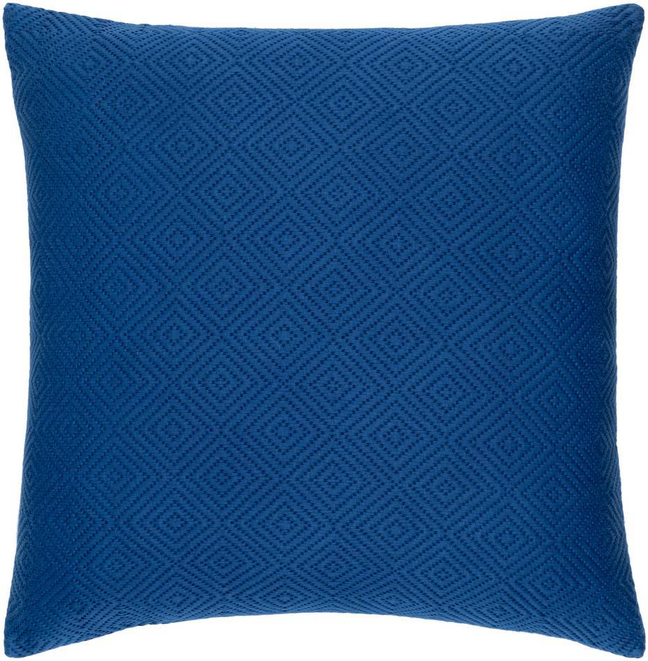 100% Cotton Royal Blue Throw Pillow with Knife Edge