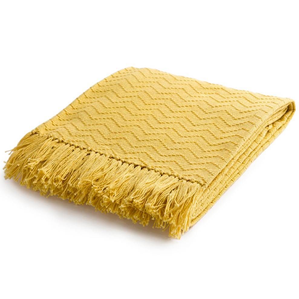 Bright Yellow 100% Cotton Patterned Throw Blanket with Fringe