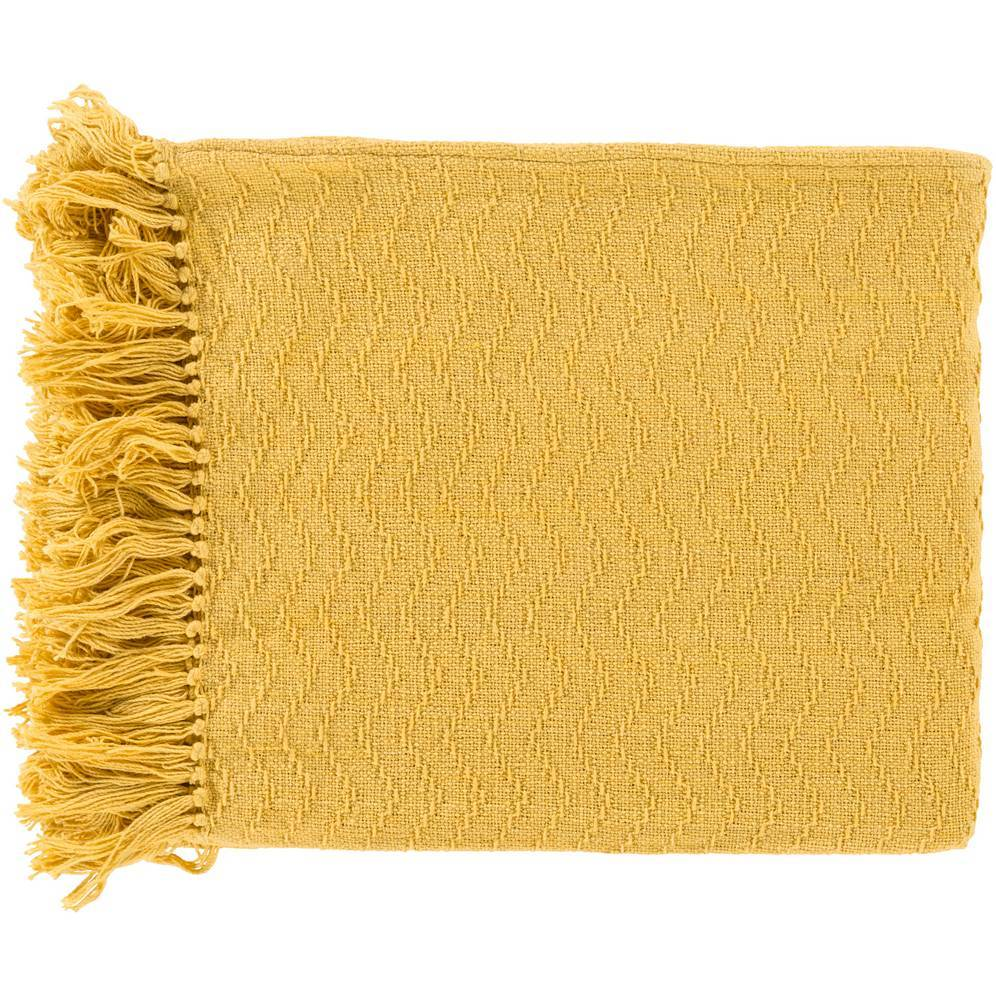 100% Cotton Patterned Bright Yellow Throw Blanket with Fringe