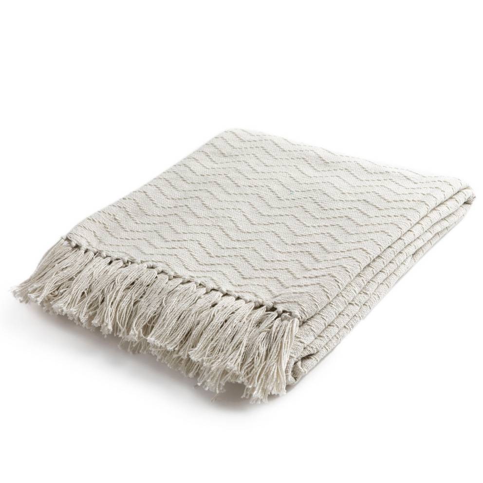 100% Cotton Patterned White Cream Throw Blanket with Fringe