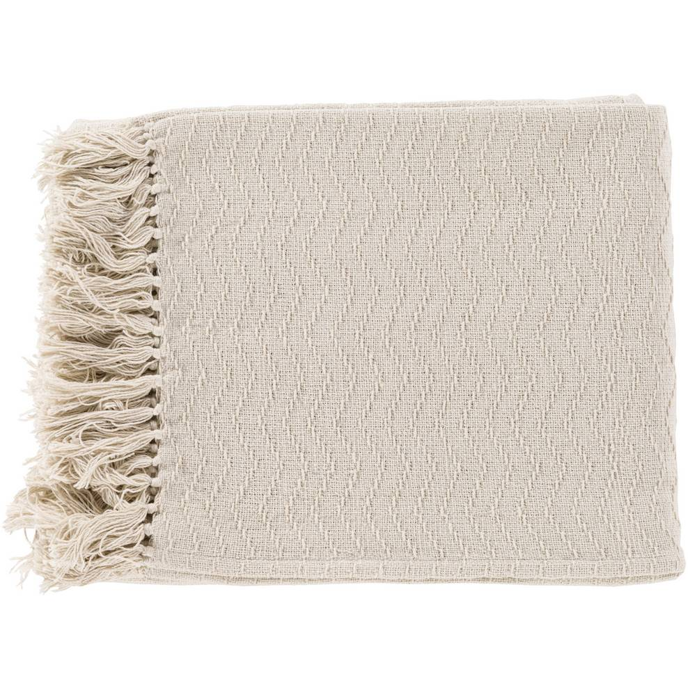 100% Cotton Patterned Cream White Throw Blanket with Fringe