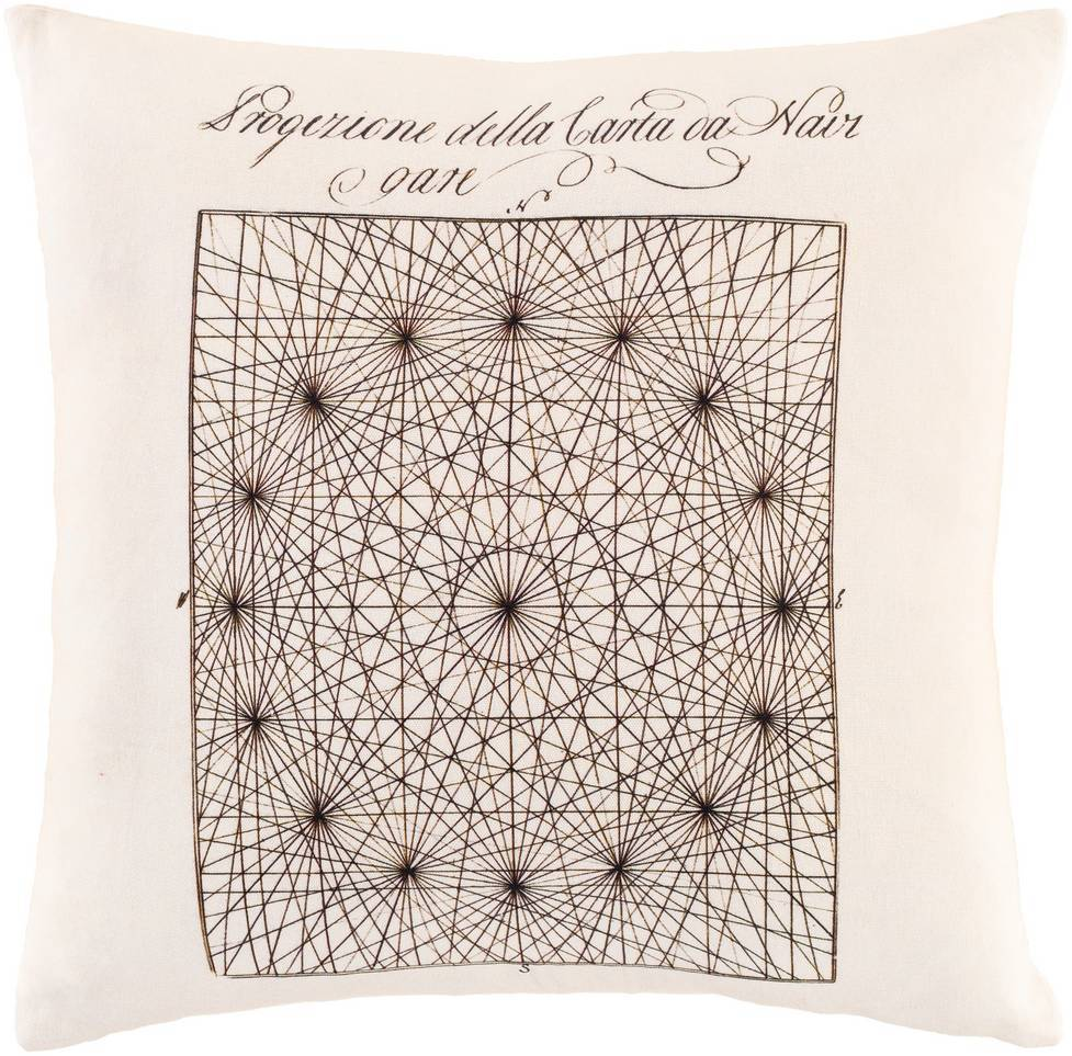 Cream White Vintage Line Drawing Throw Pillow by Smithsonian