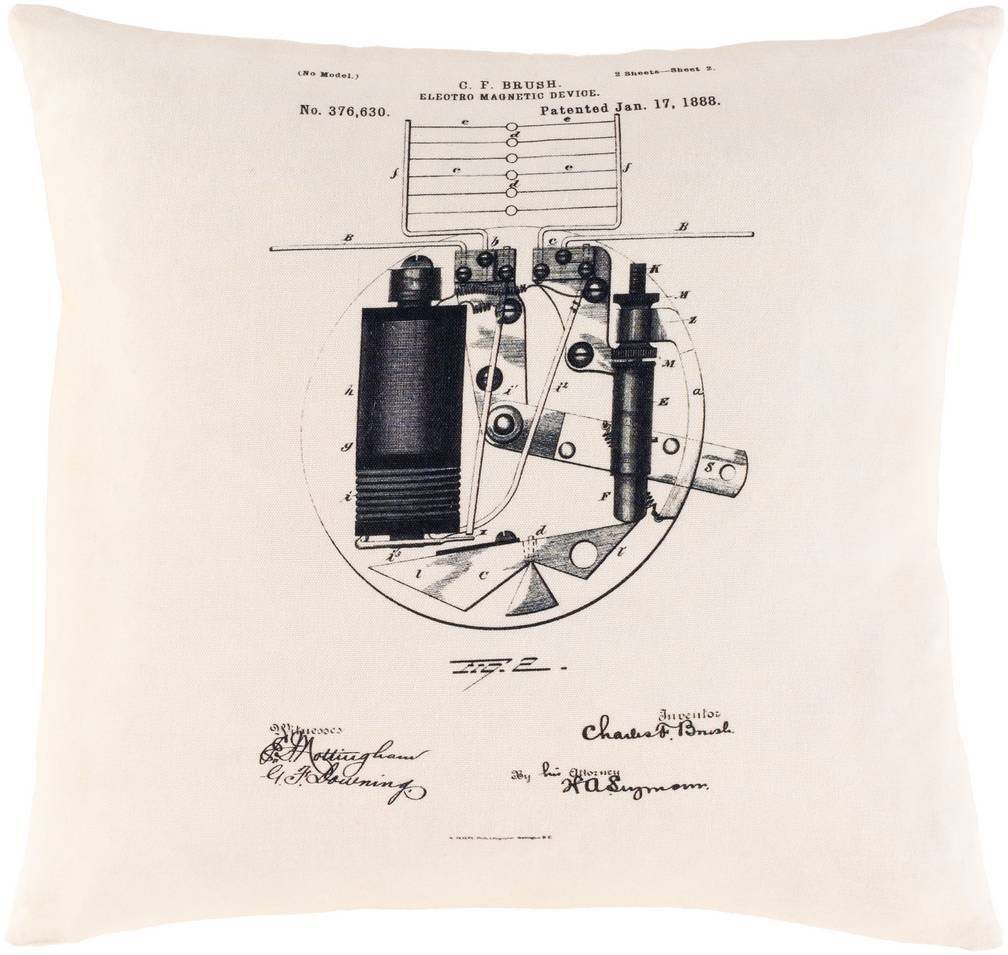 Cream White Vintage Patent Print Throw Pillow by Smithsonian