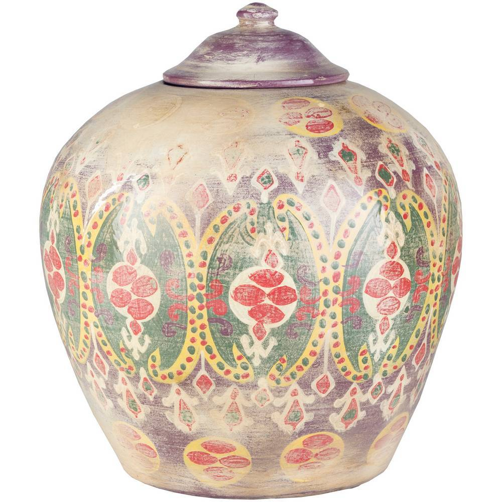 "13"" Decorative Colored Terracotta Pot with Lid"