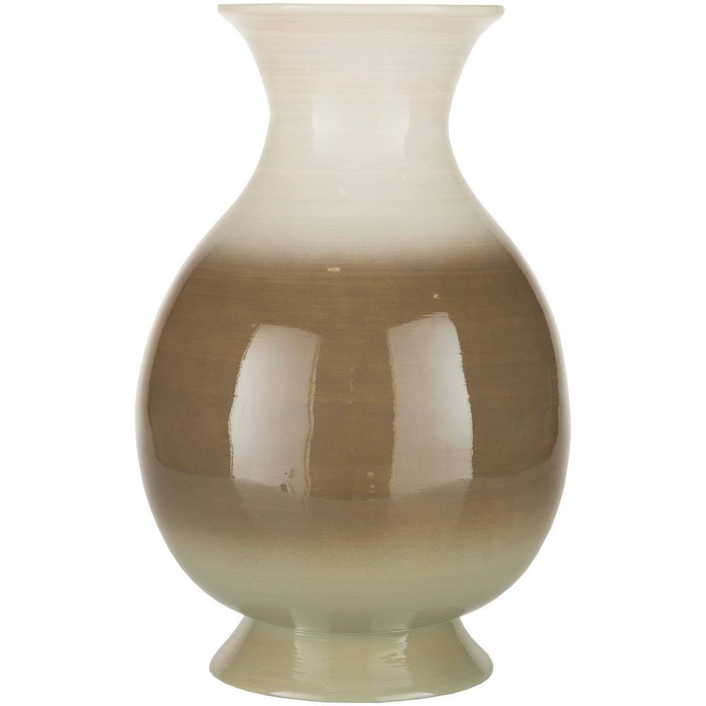 "17"" Ivory White, Camel Brown, & Light Tan Bamboo Floor Vase"