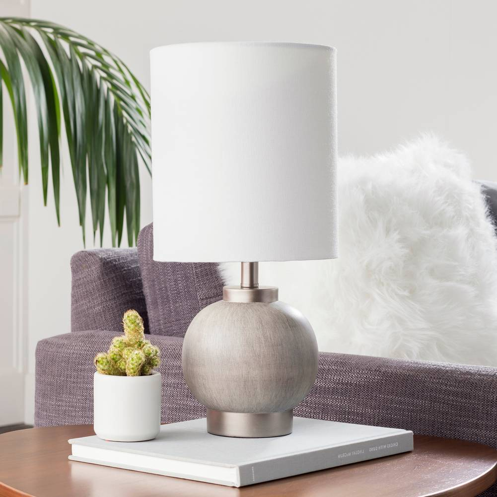 "17"" Modern Charcoal Silver Table Lamp with Tall White Drum Shade"