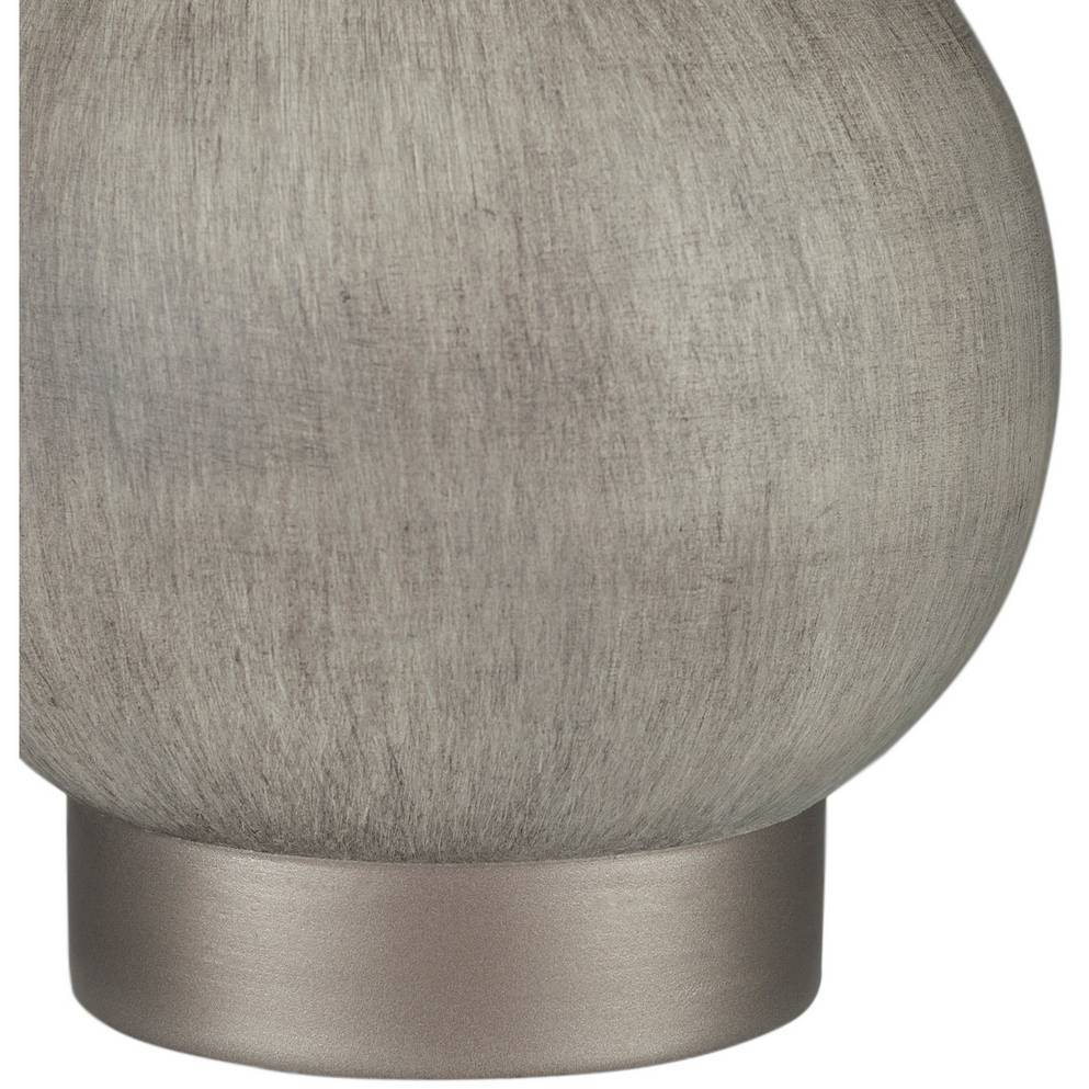 "17"" Modern Charcoal Silver Table Lamp with Tall White Shade"