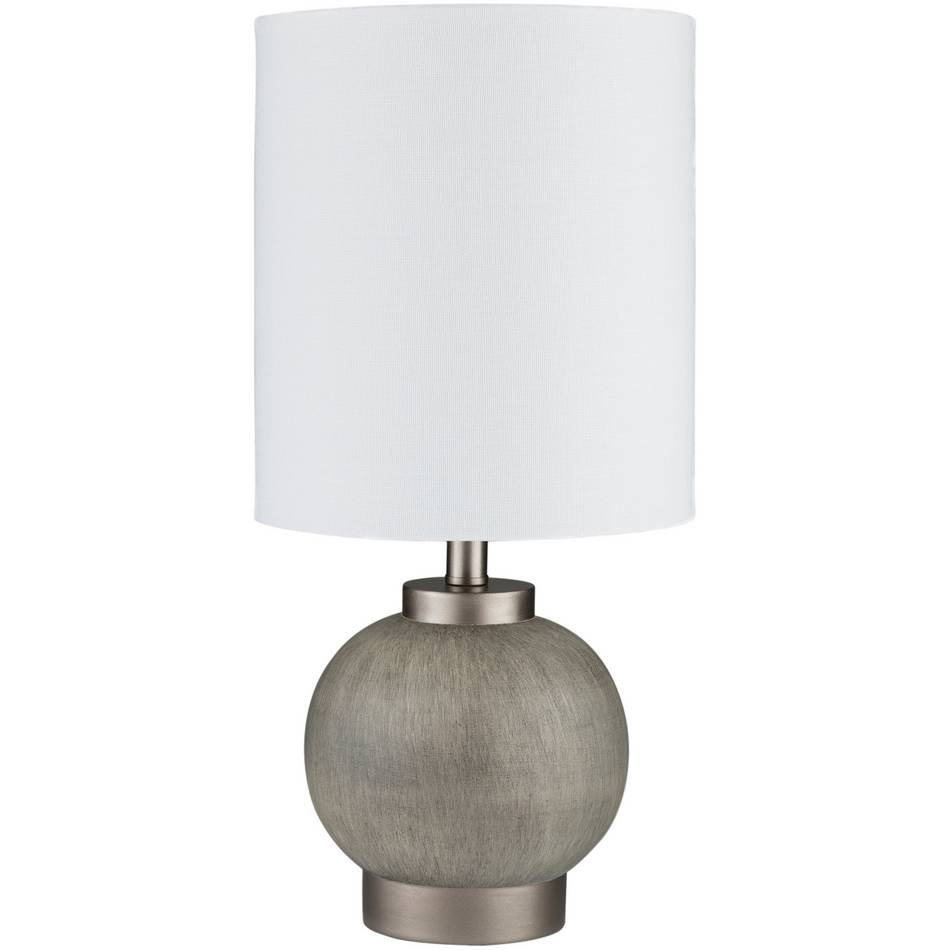 "17"" Modern Gray Table Lamp with Tall White Drum Shade"