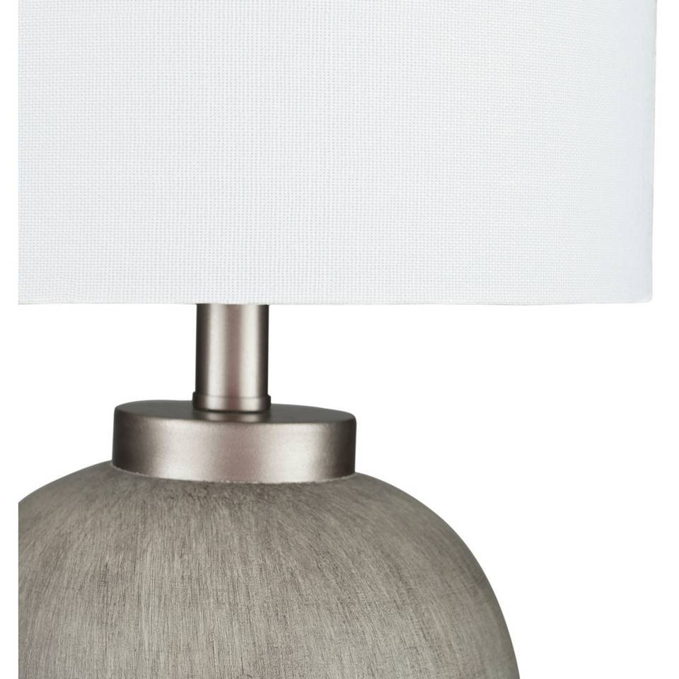 "17"" Modern Gray Silver Table Lamp with Tall White Shade"