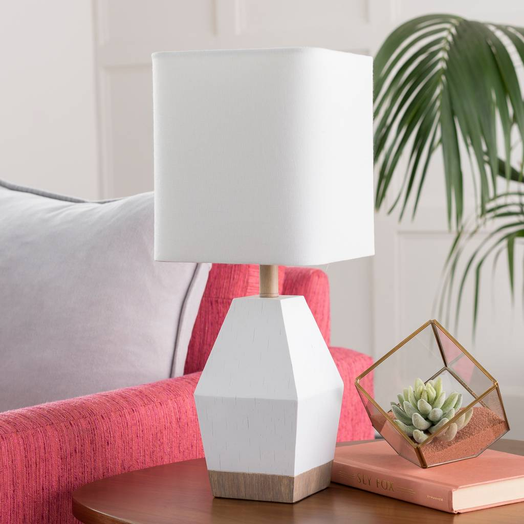 "17"" Modern White & Wood Table Lamp with White Rectangular Shade"