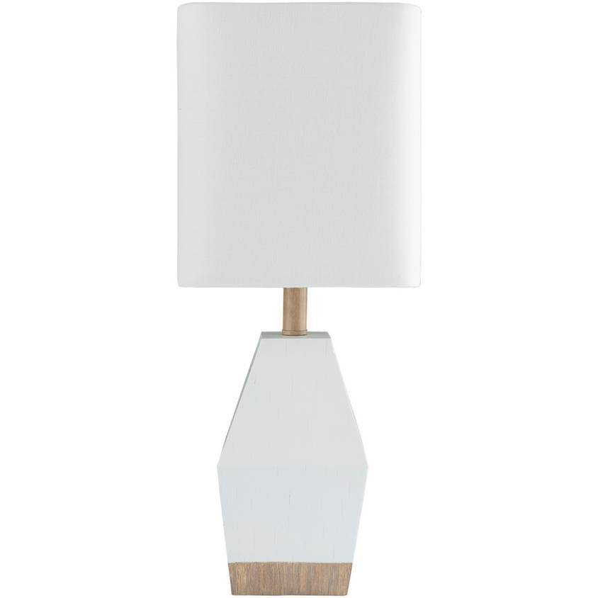 "17"" Contemporary White & Wood Table Lamp with White Rectangular Shade"