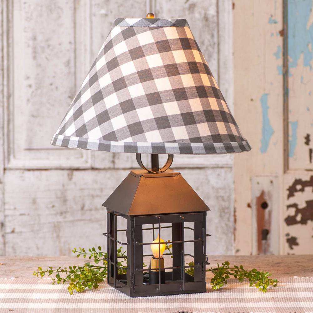 "18"" Black Country Farmhouse Cage Lantern Checkered Shade Table Lamp"