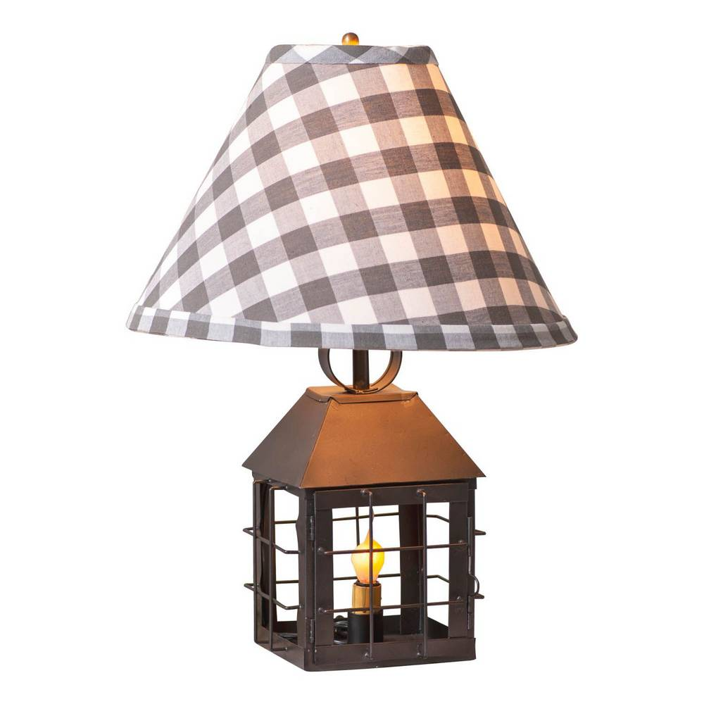 "18"" Black Country Farmhouse Cage Lantern Plaid Shade Table Lamp"