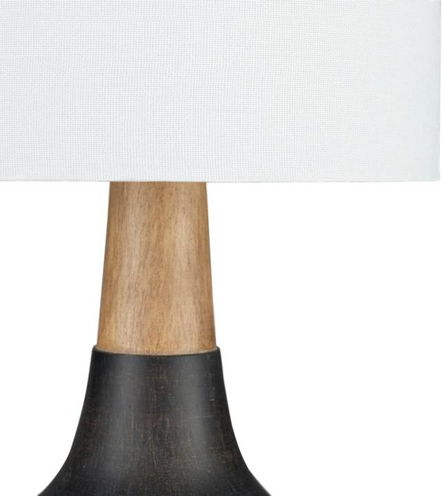 "black and wood 18"" modern table lamp"