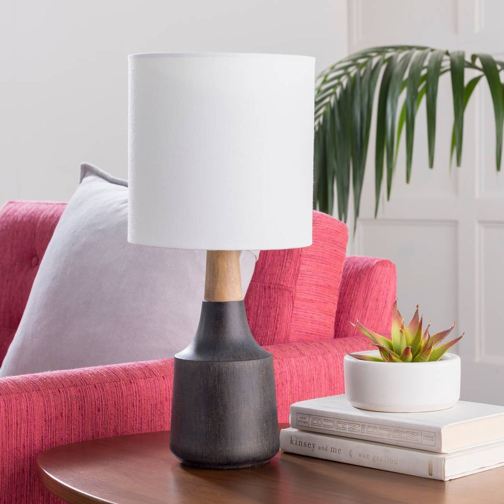 "18"" Modern Black & Wood Table Lamp with White Linen Drum Shade"