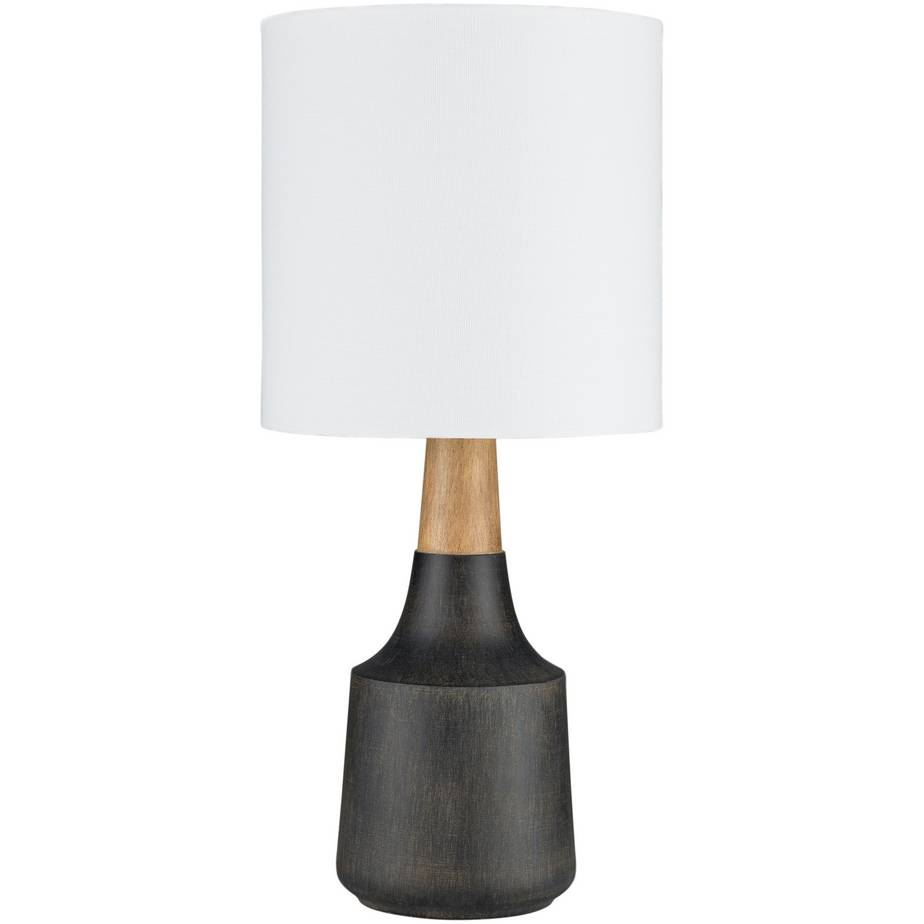 "18"" Contemporary Black & Wood Table Lamp with White Linen Drum Shade"