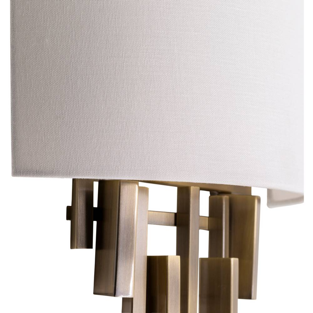 2-Light Mid Century Brass White Fabric Shade Wall Lighting