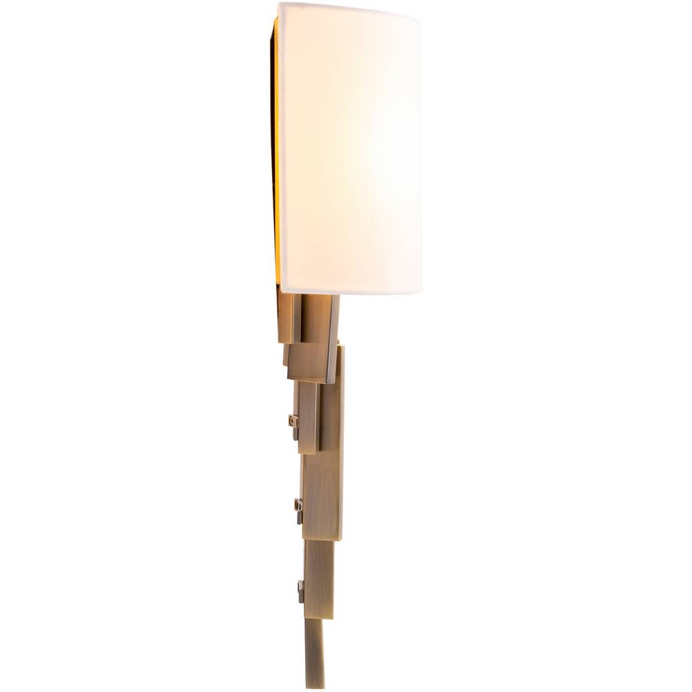 2-Light Mid Century Brass White Fabric Shade Wall Sconce
