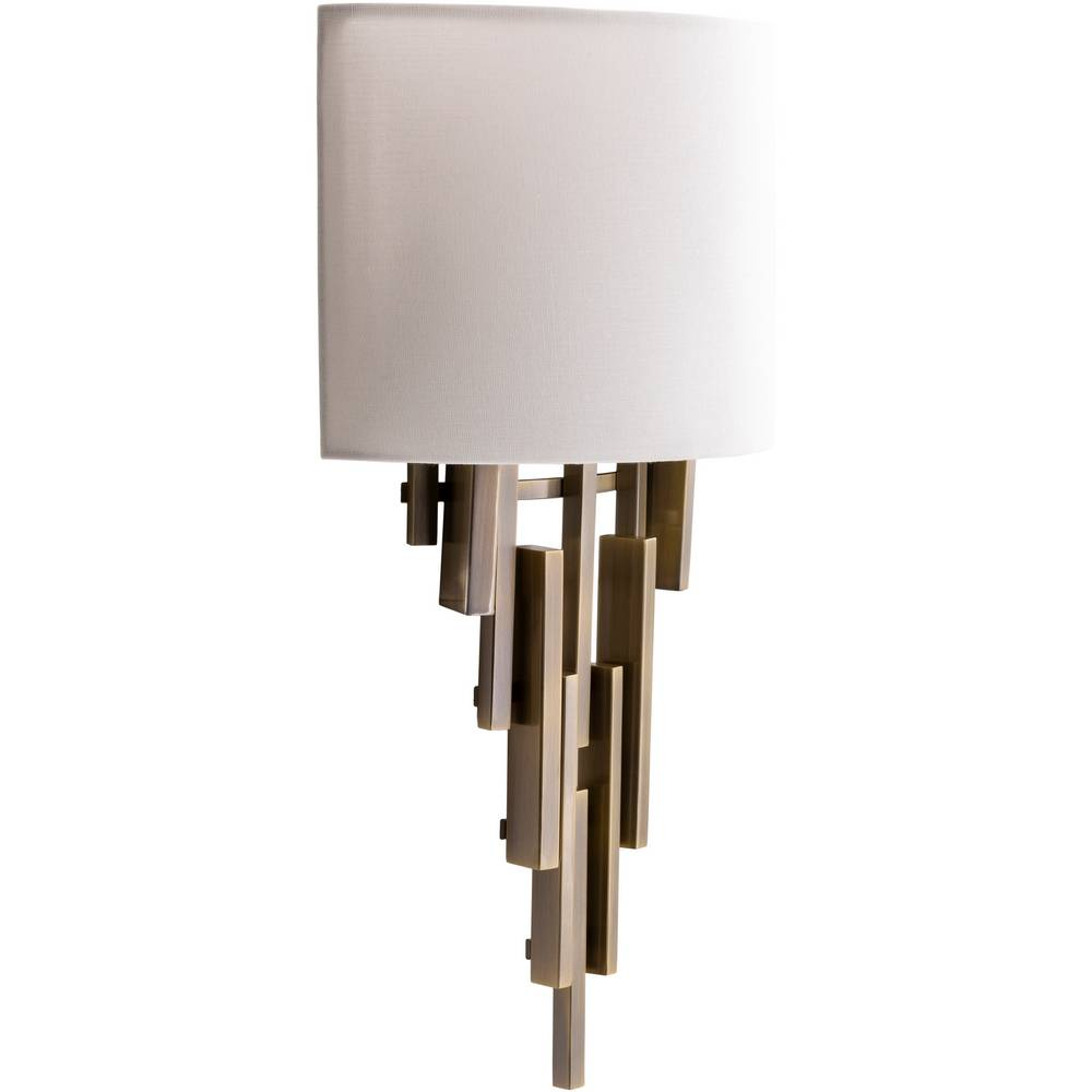 2-Light Mid-Century Modern Brass White Fabric Shade Wall Light