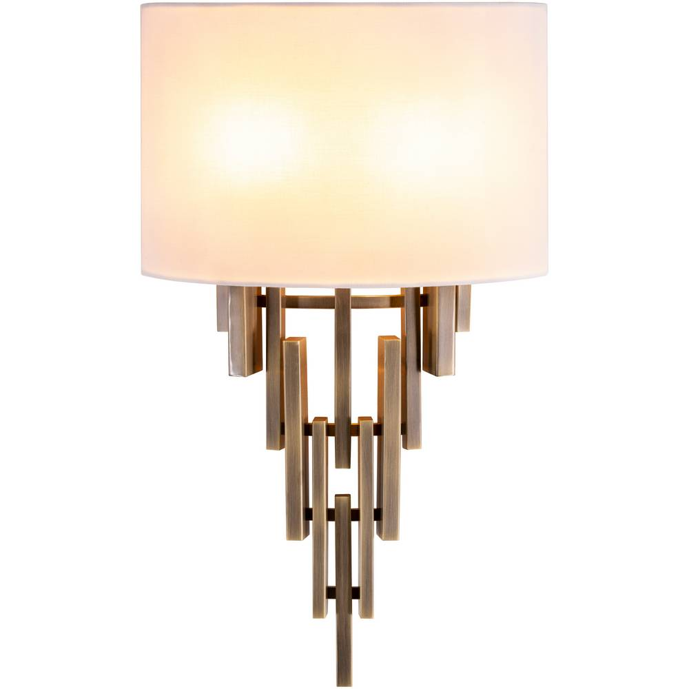 2-Light Mid-Century Modern Brass White Fabric Shade Sconce
