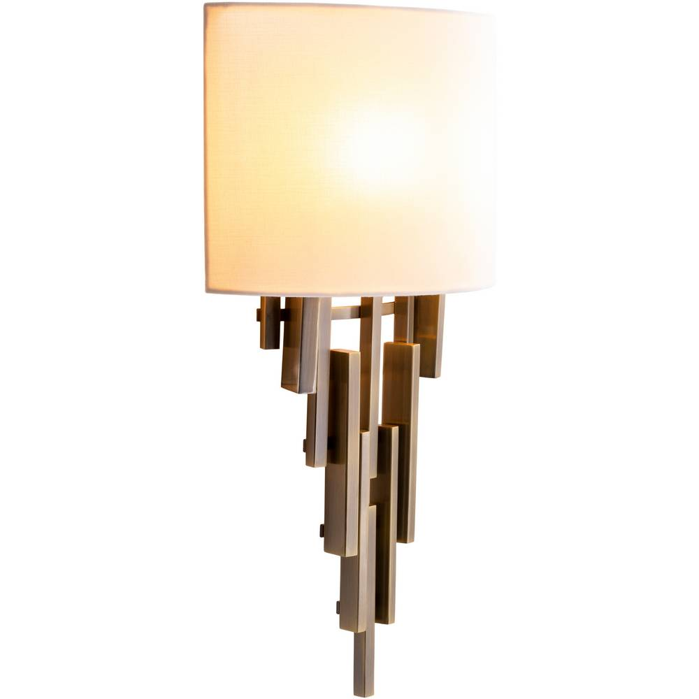 2-Light Mid-Century Modern Brass White Fabric Shade Wall Lighting