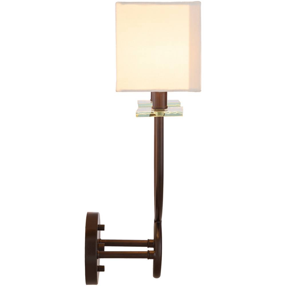 2-Light Modern Bronze Rectangular White Frosted Glass Sconce