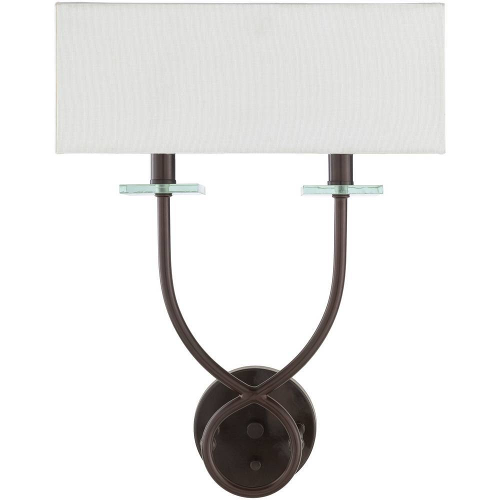 2-Light Modern Bronze Rectangle White Frosted Glass Wall Light