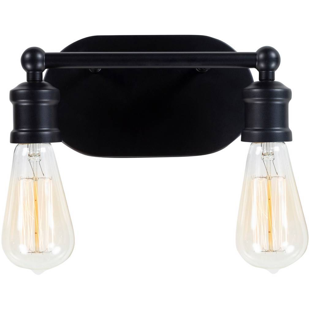 2-Light Industrial Modern Exposed Bulbs Black Metal Sconce