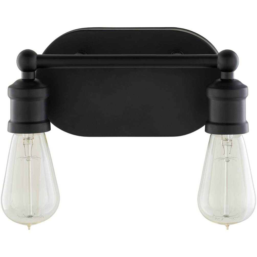 2-Light Modern Industrial Exposed Bulbs Black Metal Sconce