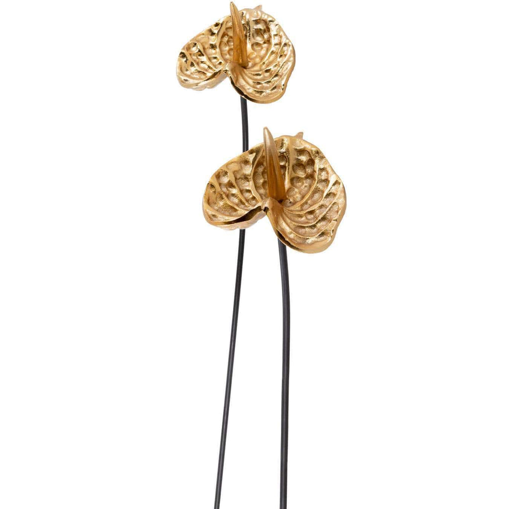 2 Piece Black and Gold Long Stem Flower Decor Set