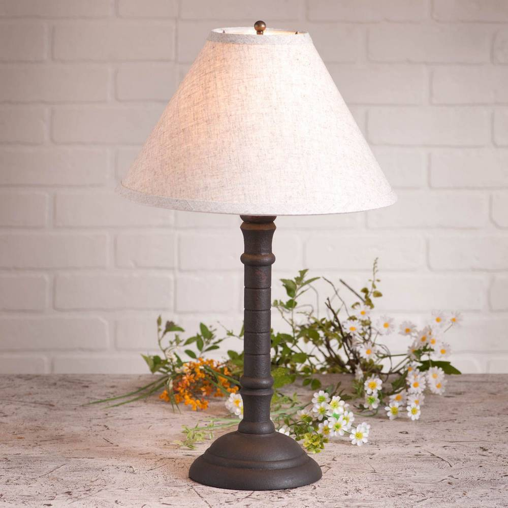 "20"" Distressed Black Modern White Shade Table Lamp"