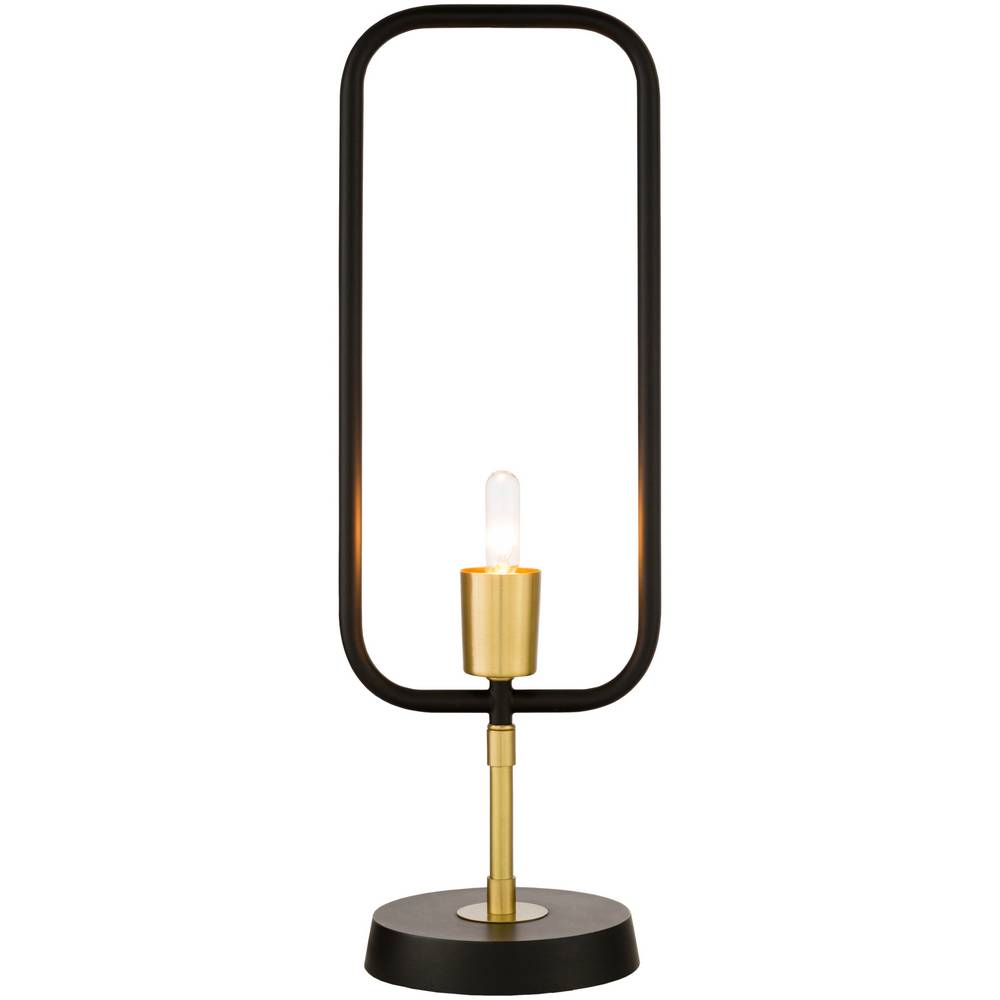 "20"" Mid-Century Modern Black & Brass Exposed Bulb Table Lamp"