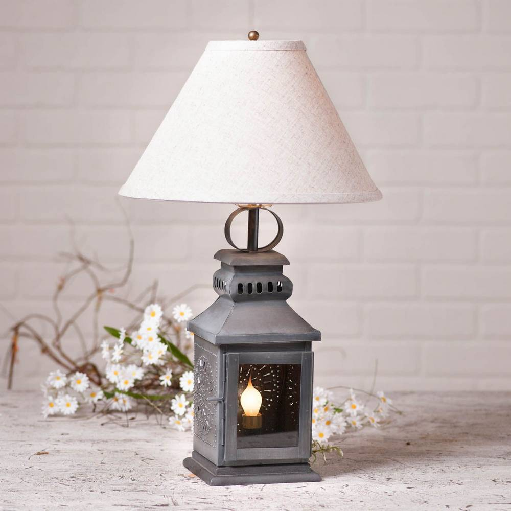 "21"" Antique Tin Gray Farmhouse Candle Lantern White Shade Table Lamp"