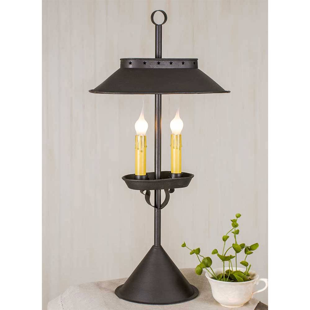 "22"" Black Modern Double Candlestick Table Lamp"